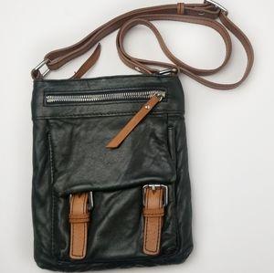 Nina Boni Black/Brown Soft Leather Crossbody Bag